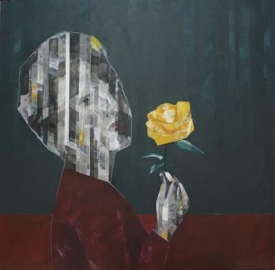 Lady with the flower, 2019, Mixed media on canvas, 120 x 120 cm