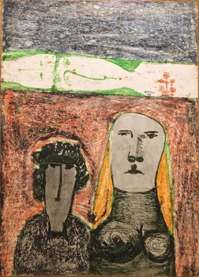 Untitled B6, 1973, Mixed media on paper, 70 x 50 cm