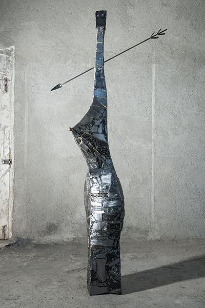 Untitled, 2014, iron and copper, 93 x 48 x 224 cm