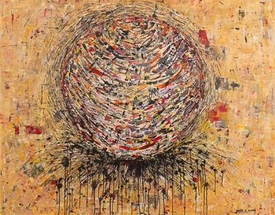 Chaos, 2015 Mixed Media, Acrylic on Canvas, 155 x 195cm.