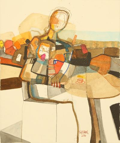 Morning Coffee, 2010, mixed media on paper, 24x29cm