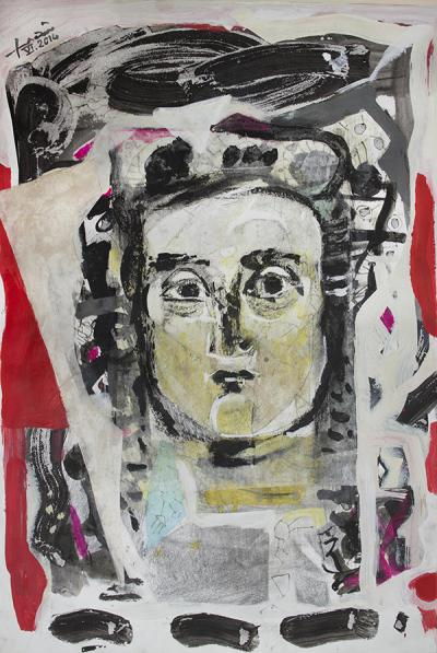 Face , 2014, mixed media & collage on  paper, 54x37cm