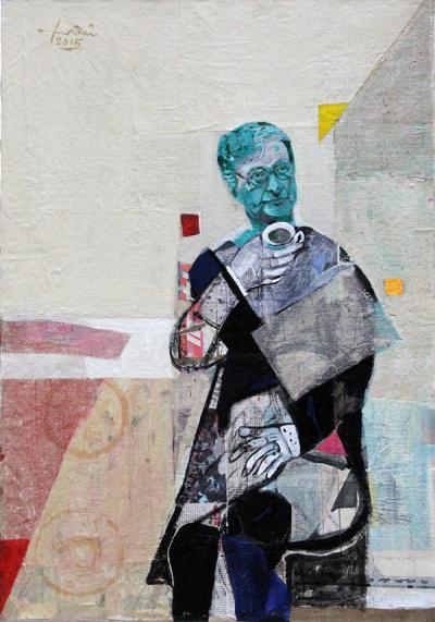 Mahmoud Darwish, 2015, mixed media &collage canvas, 116x80 cm