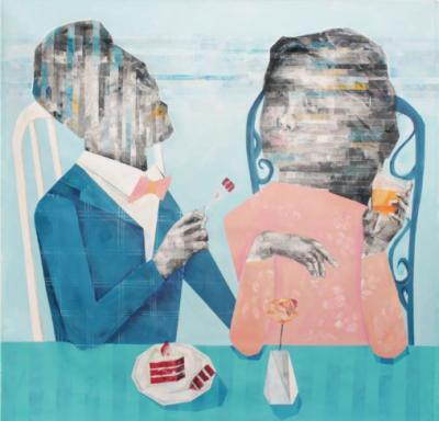 Intimacy, 2018, Mixed media on canvas, 150 x 150 cm