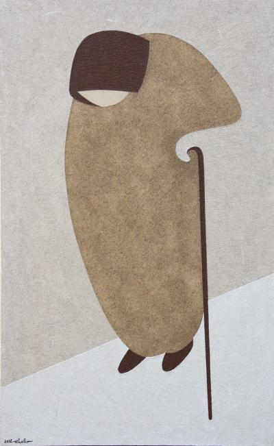 Sitti, 2013, natural sand and acrylic on canvas, 125x75cm