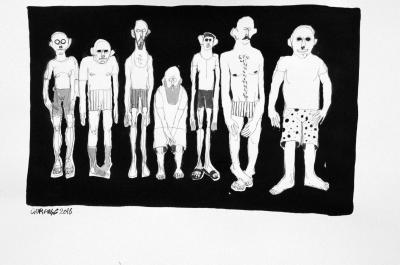 Group 3, 2016, ink on paper, 30x42 cm