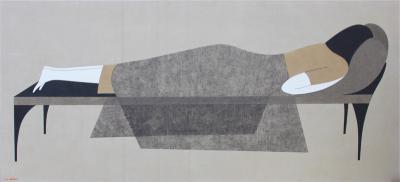 Deep sleep, 2017, natural sand on canvas, 100x250cm.