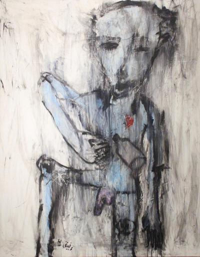 Utitled, Acrylic and pastel on canvas, 2012, 149x118 cm