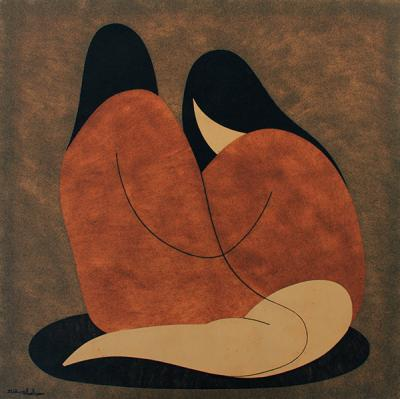 Girlfriends, 2012, Natural sand on canvas, 100x100cm