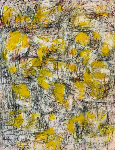 The memory of yellow,  2021, mixed media on canvas,154x205cm
