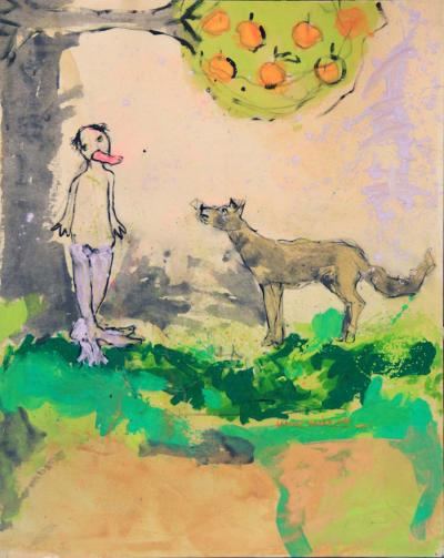 Jaafar & The Wolf, 2012, Acrylic on Canvas, 120 x 100 cm
