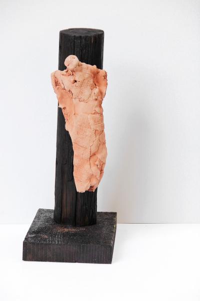 Untitled 13, 2013, Wood & Terracota, H 50 cm
