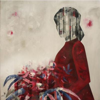 Lady with red flowers, 2019, Mixed media on canvas, 120 x 120 cm