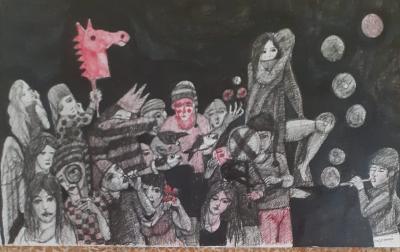 Untitled 2 , 2020, Ink on cardboard, 60x35.cm