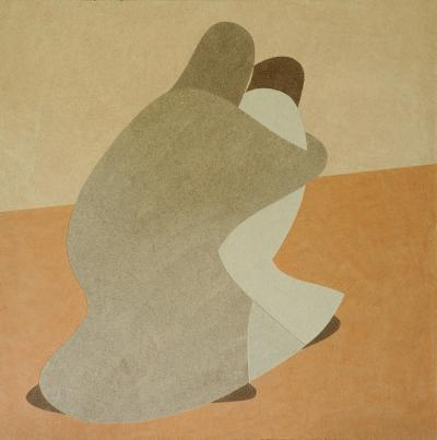Return of the son, natural sand on canvas, 100x100cm