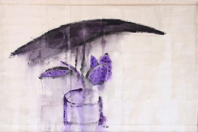 crow on a velvet cactus, 2018, mixed media on canvas, 97x 138cm