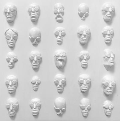 Faces 6, 2019, Resin Acrylic on wood, 30 x 30 x 5 cm