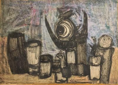 Untitled B14, 1972, Mixed media on paper, 50 x 70 cm