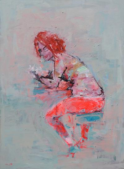 Bar Sitting, 2014, acrylic on canvas, 150x110cm