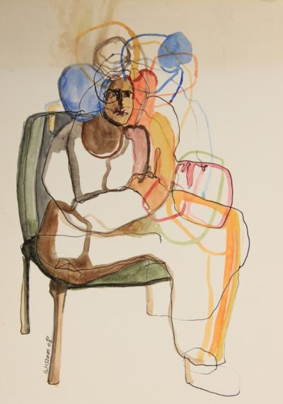 Untitled  52, 2008, mixed media on paper, 25 x 18 cm