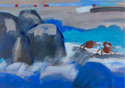 La danse des crabes,2014, Acrylic on linen, 100x140 cm
