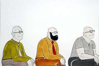 Three men - 2, 2016 , ink on paper, 30x42 cm