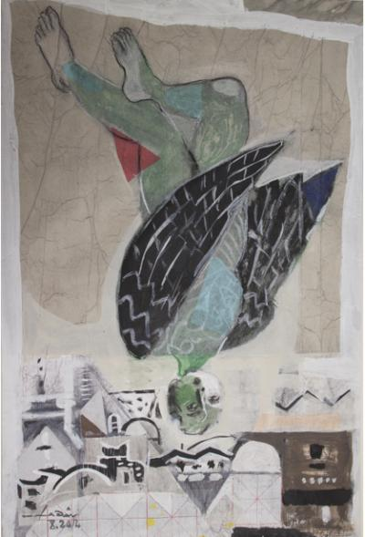 Icarus 17, Mixed media & collage on cartoon, 54x37cm