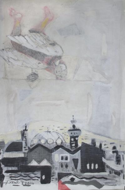 Icarus 11, Mixed media & collage on cartoon, 54x37cm