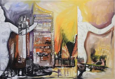 Beirut, an insatiable thirst, 2016, Oil & mixed media on canvas, 105x150cm