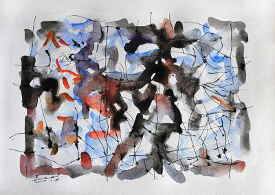 Untitled 12, 2013, Watercolor on cardboard, 38x46.5cm