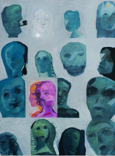 Faces from my paintings, 2010, oil on canvas, 113x85cm