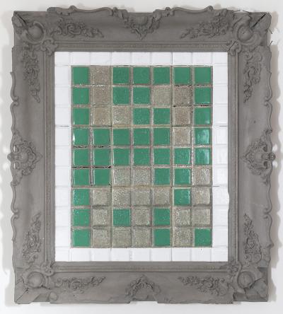 Building Blocks, 2019, Mixed media on cement tiles, 95 x 85 cm