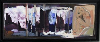 The dancing city 3, 2013, Oil & mixed media on canvas, 30x80cm