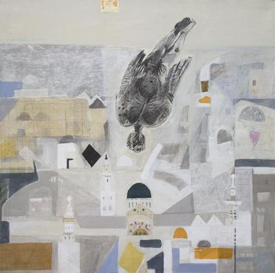Icarus 1, 2015, mixed media  collage on vanvas, 120x120cm