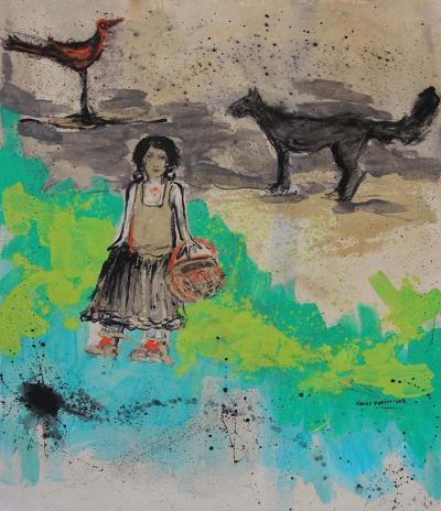 Leila, the Wolf and the Bird, 2012, acrylic on canvas, 120 x 100 cm