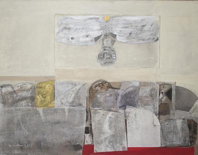 Icarus 20, 2015, mixed media  collage on vanvas, 114x146cm