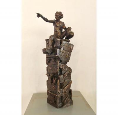 Ahmed Al Bahrani, From Baghdad to Beirut, 2018, bronze 3/3, 60 x 25 cm