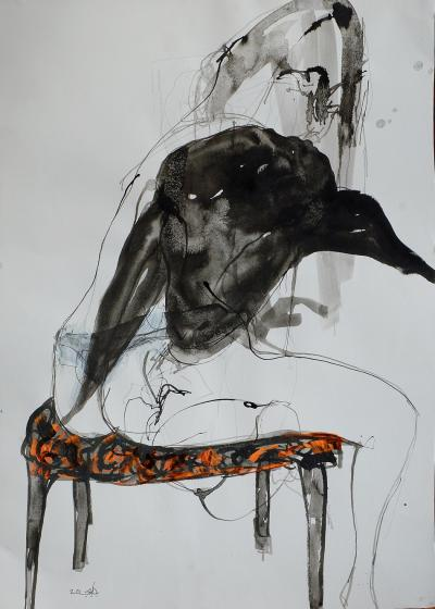 Untitled 296, mixed media on paper,  50 x 35 cm