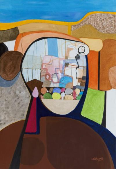 Lady with the Pink Earring, 2020, mixed media on paper, 120x100 cm