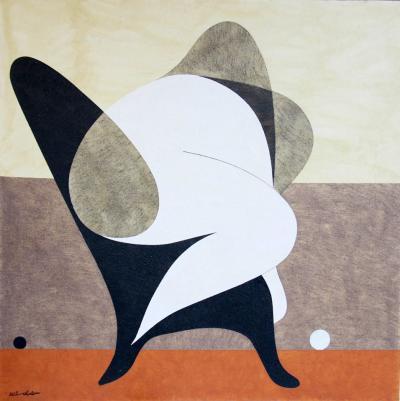 Black chair, 2013, natural sand on canvas, 150x150cm