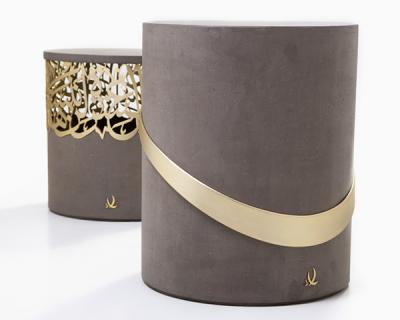 Iron or bronze calligraphy & concrete, Side Table 2
