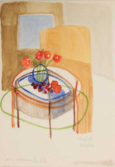 Some cherry on  a table, 2008, mixed media on paper, 25 x 18 cm