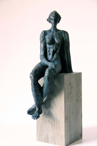 Woman sitting, Bronze 3/8, 44.5x14x23cm