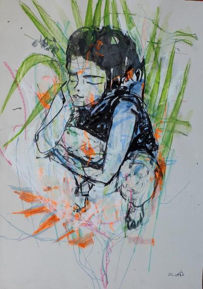 Untitled 284, mixed media on paper 50 x 35 cm