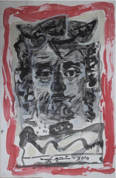 Face 5, Mixed media & collage on cartoon, 54x37cm