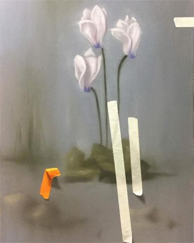 Cyclamens, 2016, Oil on canvas, 80x50cm