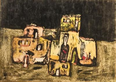 Untitled B18, 1973, Mixed media on paper, 50 x 70 cm