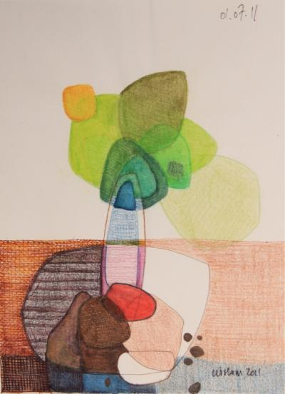 Untitled 48, 2001, mixed media on paper, 25 x 19 cm