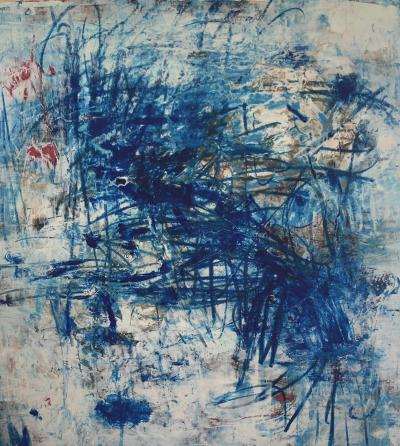 The First Blue Mark,2021  Mixed media on canvas 120x100cm
