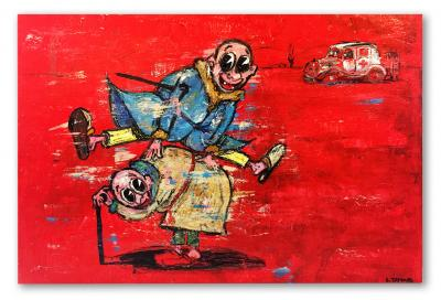 Old kids, Acrylic on canvas, 100 x 150 cm